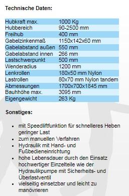 Gabelhochhubwagen 2500mm / 1,5t / 1500kg