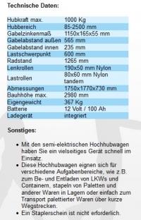 Gabelhochhubwagen elektrisch 2500 mm