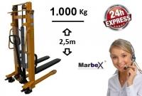 Hochhubwagen 2500 mm / 1t / 1000 kg / 1,00 Tonnen